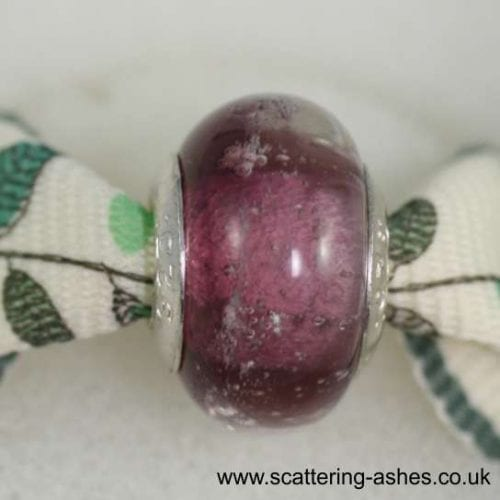 Pandora Style Memorial Charm Bead: Amethyst