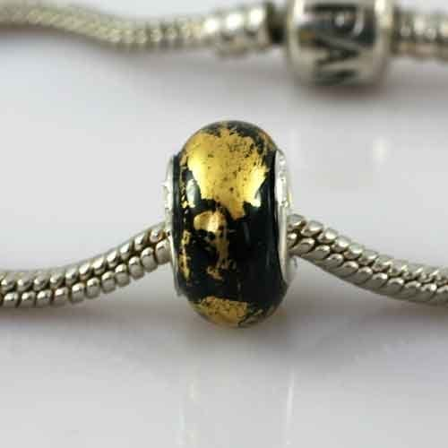 Ashes-into-Pandora-Charm Black Gold Leaf