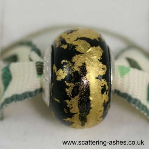 Pandora Style Memorial Charm Bead: Black with Gold Leaf