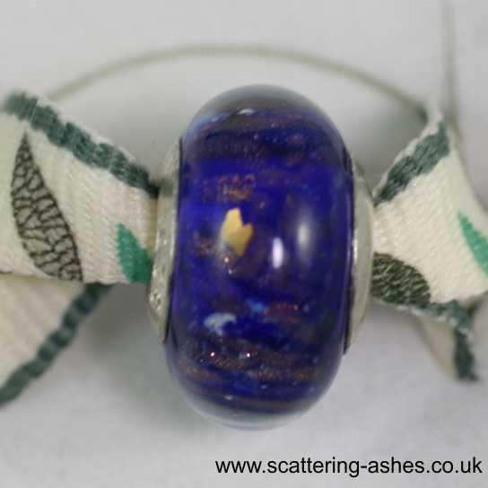 Pandora Style Memorial Charm Bead: Blue Stardust