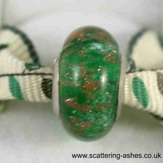 Pandora Style Memorial Charm Bead: Green Stardust