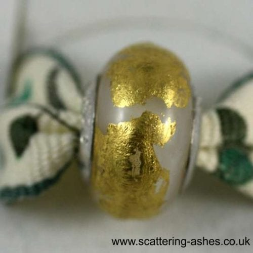 Pandora Style Memorial Charm Bead: White with Gold Leaf