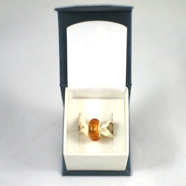 Pandora Style Memorial Charm Bead: Amber in Box