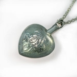 Engraved Silver Ashes Heart Pendant