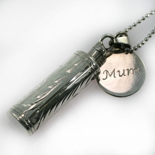 Silver Etched Ashes Cylinder Pendant