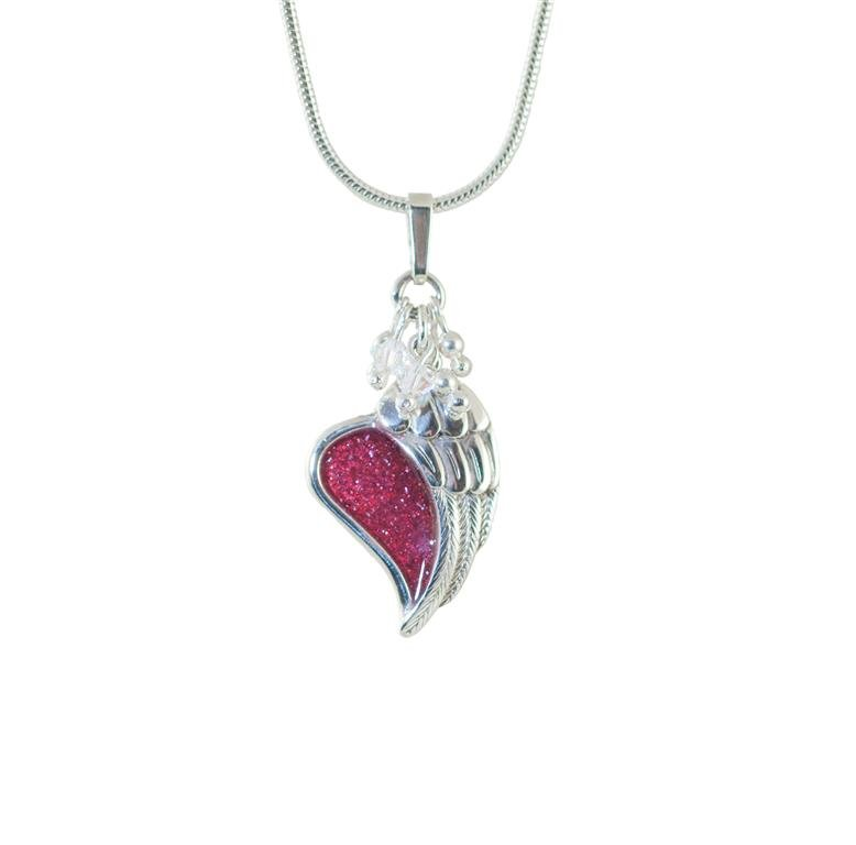 Memorial pendant heart under angels wing scattering ashes memorial pendant aloadofball Choice Image