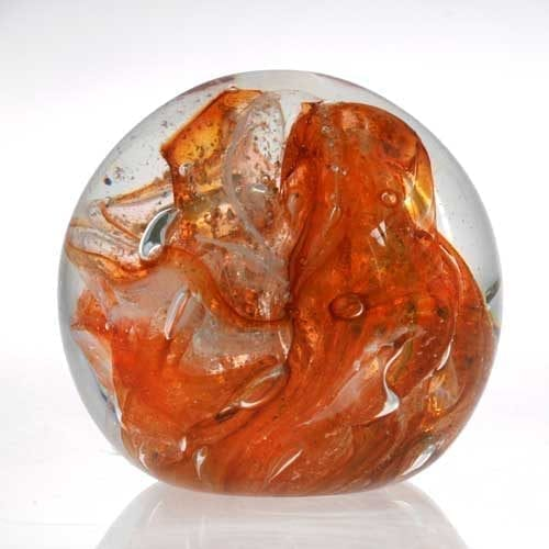amber - Memorial ashes into glass paperweight
