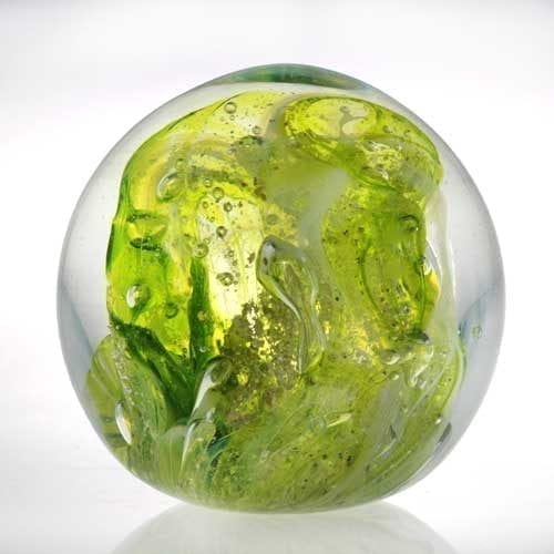 lime Memorial ashes into glass paperweight