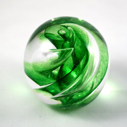 Ashes into glass paperweight
