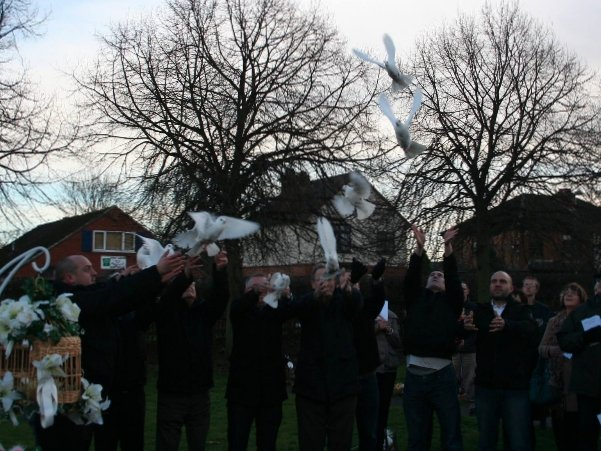 dove release Leicester scattering