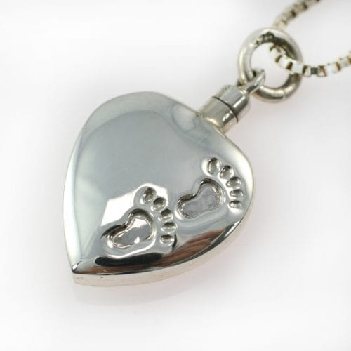 Footprints Ashes Silver Heart Pendant