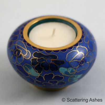 Cloisonné Memorial Candle Holder Spring Blue Scattering Ashes
