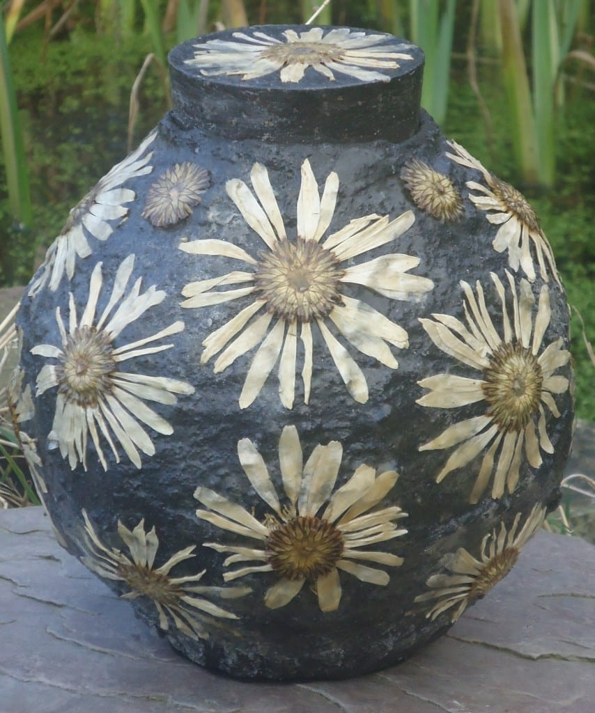 Hand made vessel urn inspired by summer walks in Dartmoor Devon