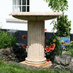memorial stone birdbath to store ashes