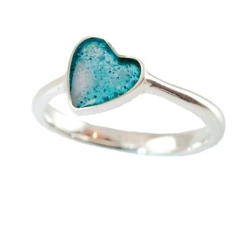 Memorial Heart Ring aqua