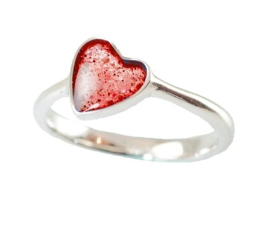 silver memorial heart ring scattering ashes