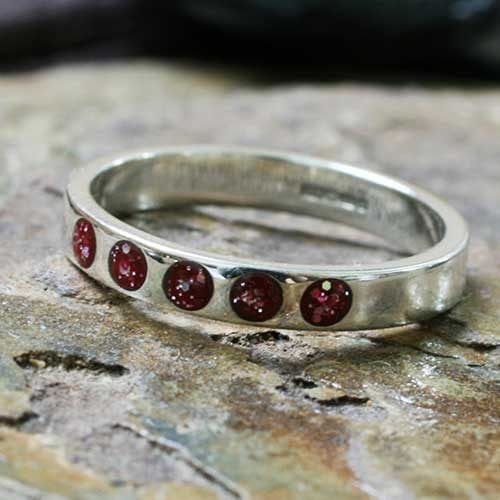 white-gold-eternity-red-five-stone Ashes Jewellery