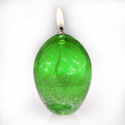 green Ashes into Glass Oil Burner Candle
