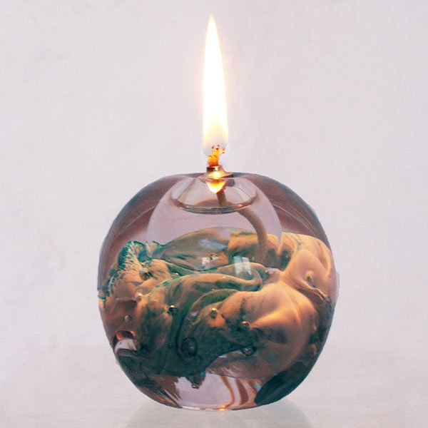 Glass Oil Candle: Eternal Flame - ashes within glass candle burner