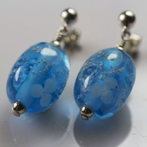 Aqua Flower Bead Earrings - Ashes into Jewellery Uk