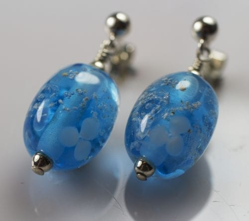 Aqua Flower Bead Earrings - Ashes into Jewellery Uk