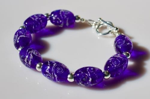 memorial glass bead bracelet