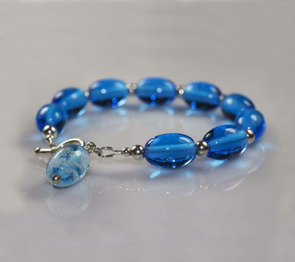 Bead Bracelet Aqua Flowers - Ashes into Jewellery UK