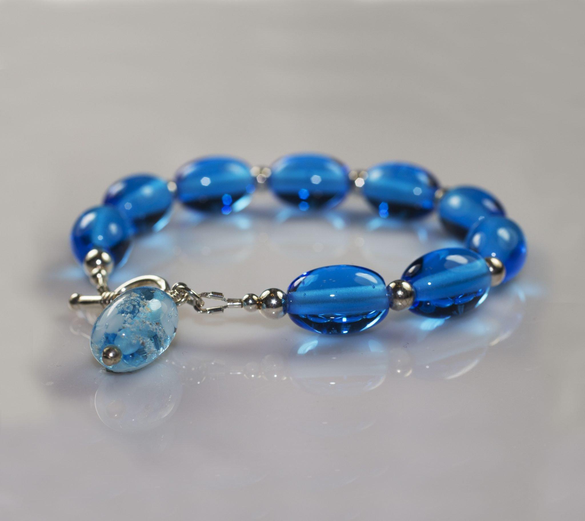 Memorial Glass Bead Bracelet Handmade In Devon Scattering Ashes