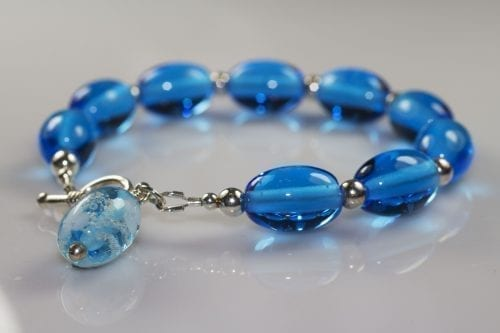Bead Bracelet Aqua Flowers - Ashes into Jewellery UK