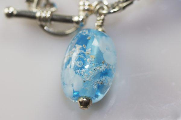 Bead Bracelet Close Up Aqua Flowers - Ashes into Jewellery UK