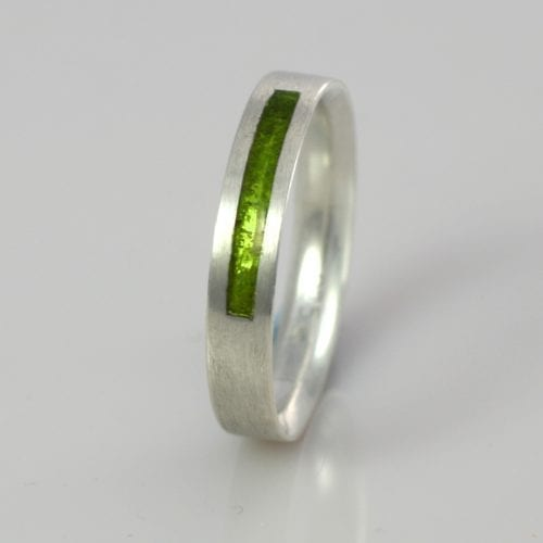 August Peridot Wedding Band
