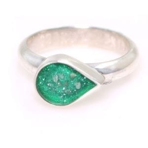 Ashes Jewellery - Silver Teardrop Ring Green