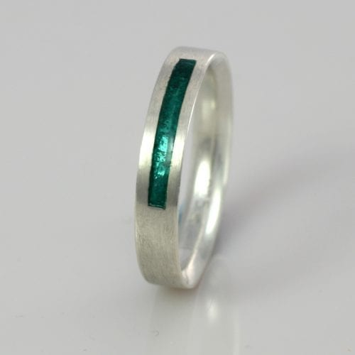 March Aquamarine Wedding Band