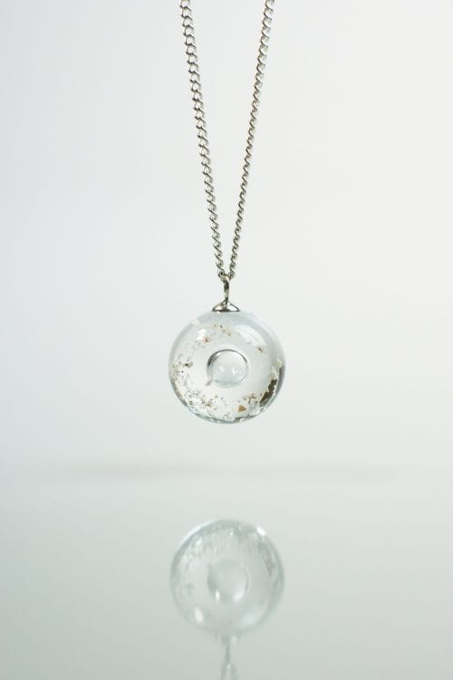 Ashes within Glass Halo - Clear - Ashes into Jewellery UK