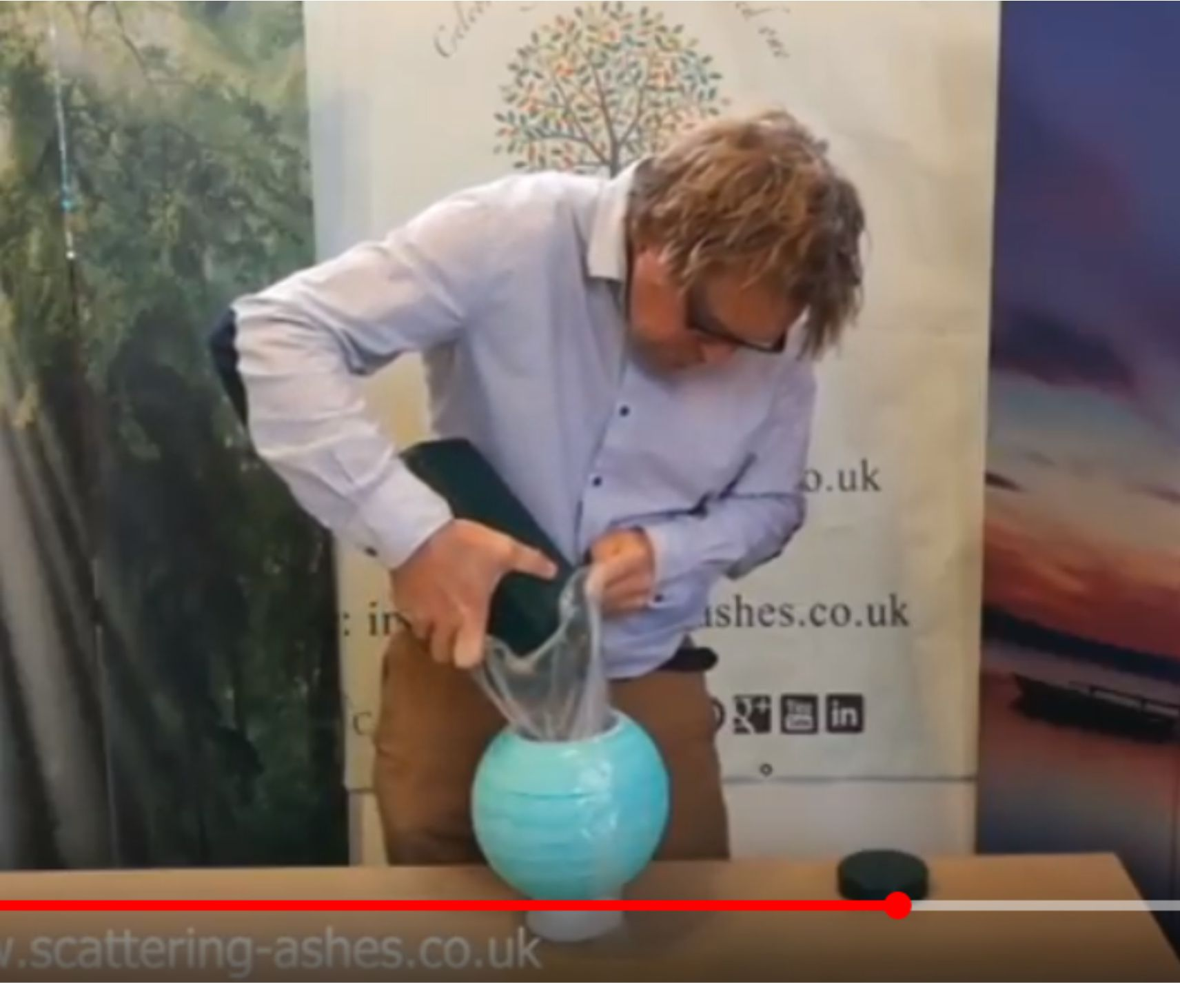 filing a natural floating ball urn video