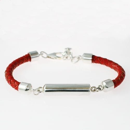 Silver & Leather Memorial ashes Bracelet - red