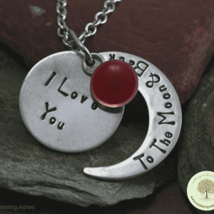 Ashes Necklace -Silver Moon & Stars Pendant - Red