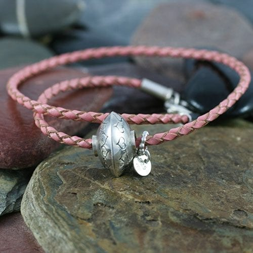 Ashes Jewellery Leather bead Bracelet