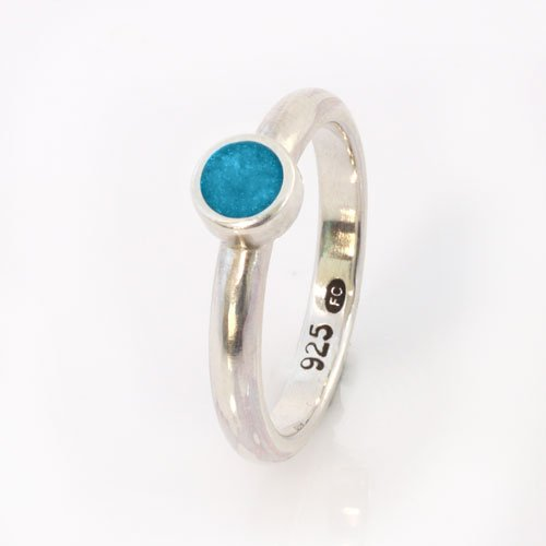 Ashes Jewellery-Elegance Ashes Memorial Ring - Turquoise December