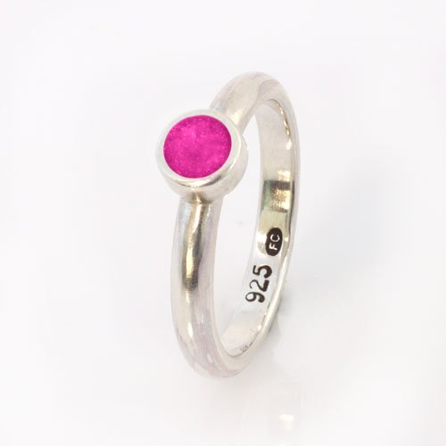 Ashes Jewellery-Elegance Ashes Memorial Ring - Pink Diamond April