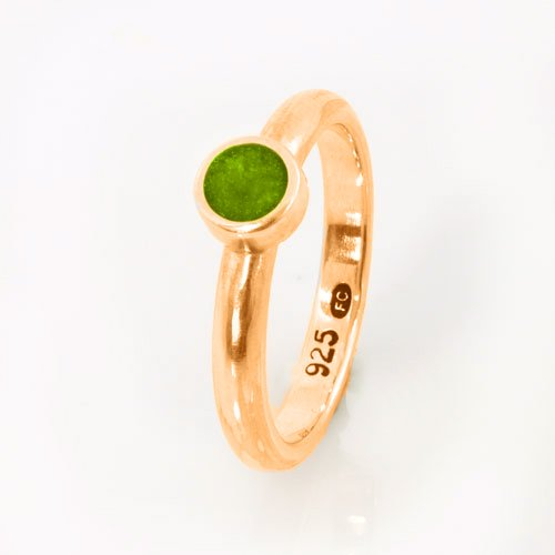 Ashes Jewellery-Elegance Ashes Memorial Ring - Peridot August
