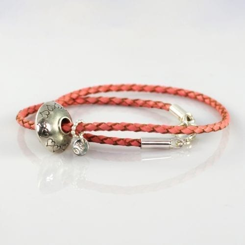 Pandora Leather and Silver Bead Bracelet