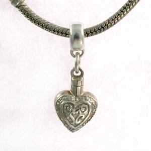 Silver pandora heart embossed charm - Ashes Jewellery