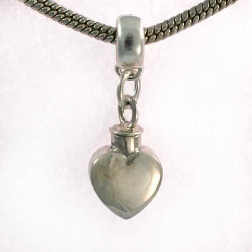 Silver pandora heart charm - Ashes Jewellery