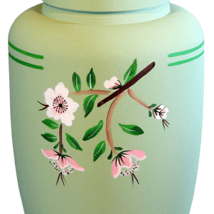 Eco Urn Light green with floral motif