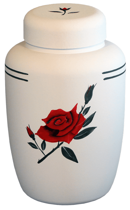 Eco Urn White with Rose Motif