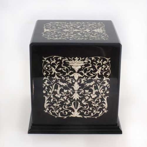 Italian Inlaid wooden urn