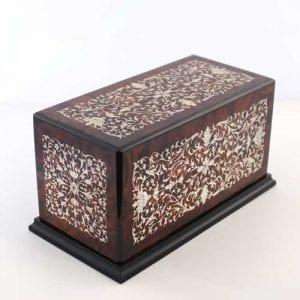 Italian Inlaid Wooden Urn
