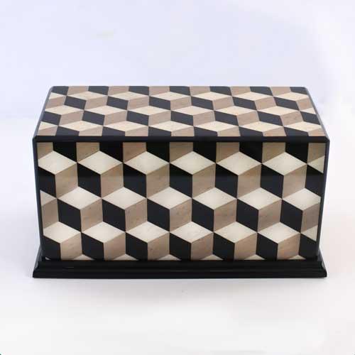Escher Cube Design Inlaid Wooden Urn