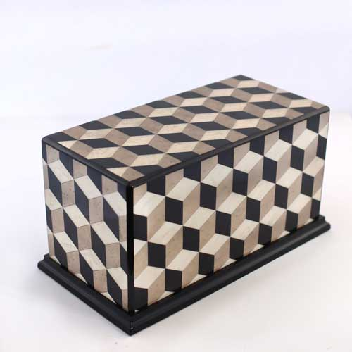 Escher Cube Design Inlaid Wooden Urn